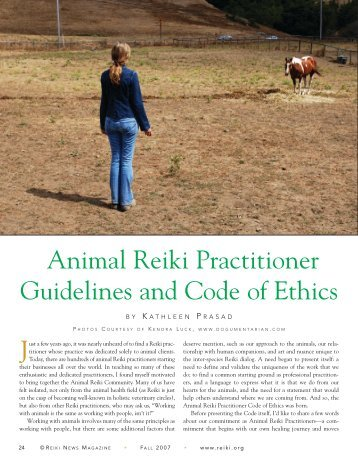 Animal Reiki Practitioner Guidelines and Code of Ethics