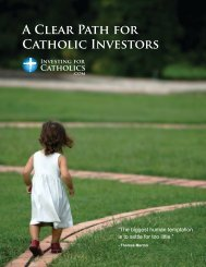 A Clear Path for Catholic Investors