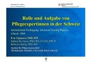 Rolle und Aufgabe von Pflegeexpertinnen in der Schweiz - DBfK