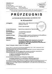 Prüfbericht Brandverhalten B1 schwerentflammbar mit Deco-Lasur ...
