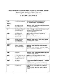 Program Seminarium Studenckiego Regulacje Rogowski 2013