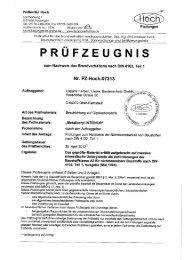 Prüfbericht Brandverhalten A2 nichtbrennbar auf Metallocryl Interior