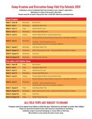 Camp Freedom and Recreation Camp Field Trip Schedule 2013