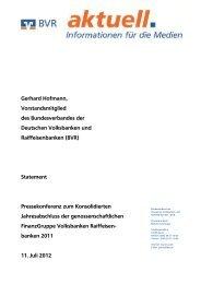 Gerhard Hofmann, Vorstandsmitglied des Bundesverbandes der ...