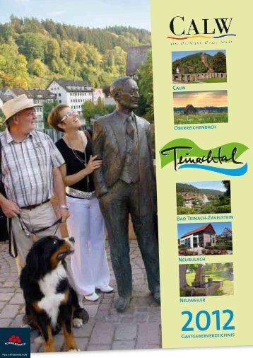 Gastgeberverzeichnis Bad Teinach-Zavelstein Neubulach - Stadt Calw