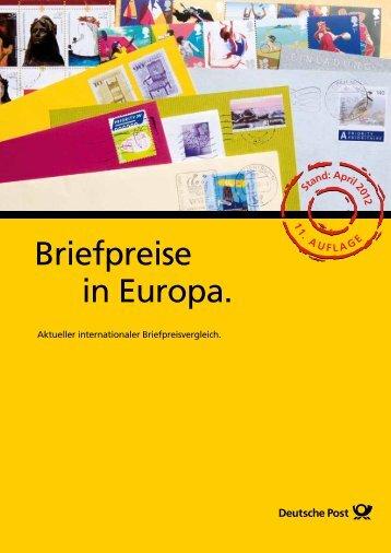 Briefpreise in Europa.