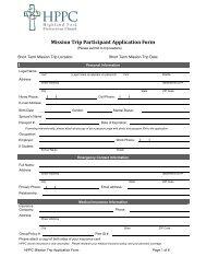 Mission Trip Participant Application Form