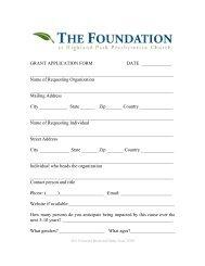 Foundation at HPPC Grant Application Form - Highland Park ...