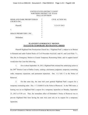 Plaintiff's Emergency Motion to Extend Temporary Restraining Order