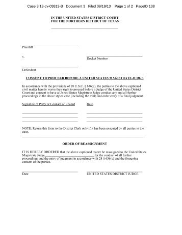 consent to proceed before a United States magistrate
