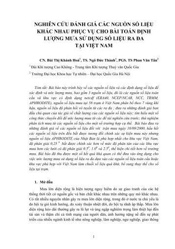 nghiên cứu đánh giá các nguồn số liệu khác nhau phục ... - Việt Nam