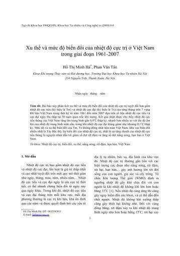 Xu thế và mức độ biến đổi của nhiệt độ cực trị ở Việt Nam trong giai ...