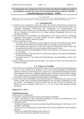 Anlaufbedingungsverordnung - AnlBV