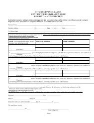 CITY OF SHAWNEE KANSAS CONTRACTOR REGISTRATION FORM RESIDENTIAL CONSTRUCTION