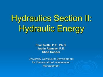 Hydraulics Section II Hydraulic Energy