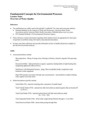 Fundamental Concepts for Environmental Processes