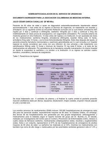 sobreanticoagulacion en el servicio de urgencias ... - clinicalevidence