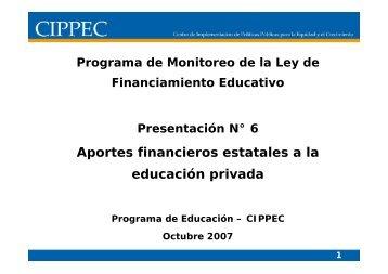 Aportes financieros estatales a la educación privada