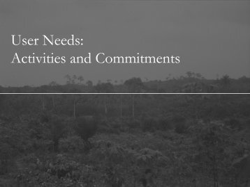 User Needs Activities and Commitments