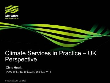 Climate Services in Practice – UK Perspective