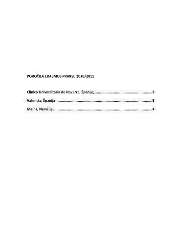 POROČILA ERASMUS PRAKSE 2010/2011 Clinica Universitaria de ...