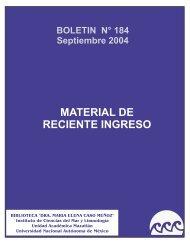 SEPTIEMBRE DE 2004 - Instituto de Ciencias del Mar y Limnología