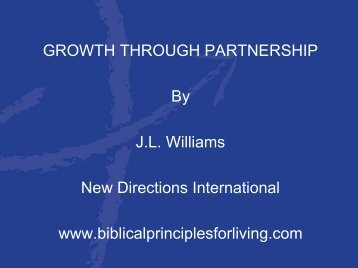 GROWTH THROUGH PARTNERSHIP By J.L. ... - JLWilliams.org