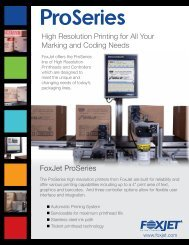 High Resolution Printing for All Your Marking and Coding Needs FoxJet ProSeries