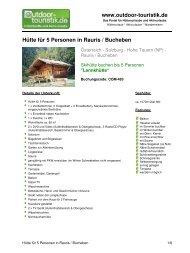Hütte für 5 Personen in Rauris / Bucheben - Outdoor-Touristik