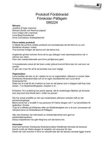 Protokoll Föräldraråd Förskolan Påfågeln 090224 - Solna stad