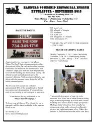 HaMBURG TOWNSHIP HISTORICAL MUSEUM NEWSLETTER – September 2015
