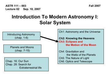 Introduction To Modern Astronomy I Solar System