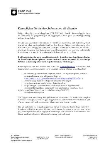 Exempel på kontrollplan för skylt (PDF, 77 kB) - Solna stad