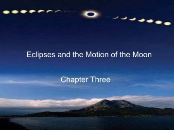 Eclipses and the Motion of the Moon Chapter Three