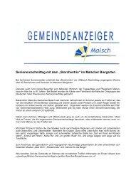 """Seniorennachmittag mit dem """"Storchentrio"""" im ... - Gemeinde Malsch"""