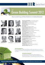 Green Building Summit 2012 - IIR Deutschland GmbH