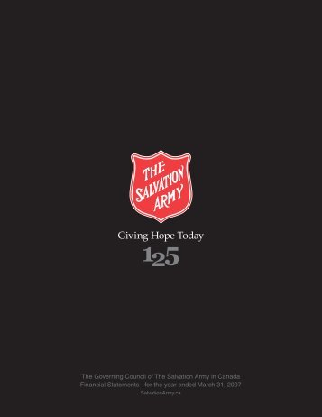 The Governing Council of The Salvation Army in Canada Financial ...