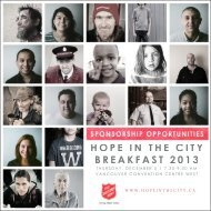 Sponsorship Package - The Salvation Army in Canada