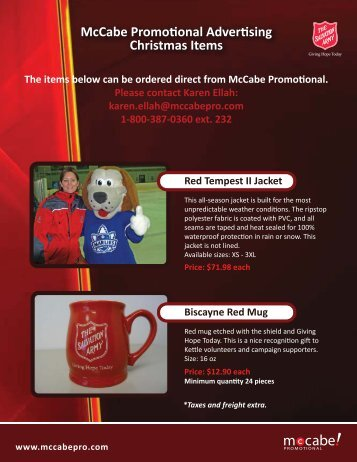 The items below can be ordered direct from McCabe Promo onal ...
