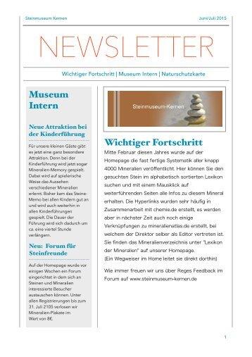 Steinmuseum Kernen Newsletter 3/2015