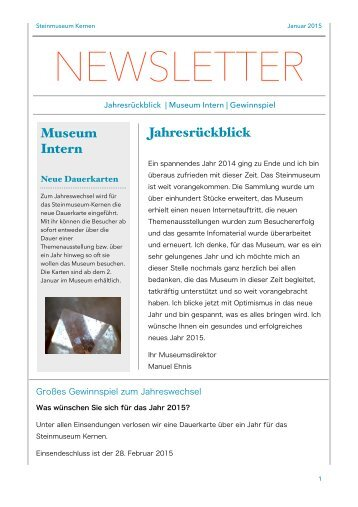 Steinmuseum Kernen Newsletter  2/2015