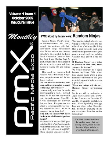 Volume 1 Issue 1 October 2005 Inaugural Issue PMX Monthly ...