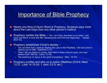 Importance of Bible Prophecy