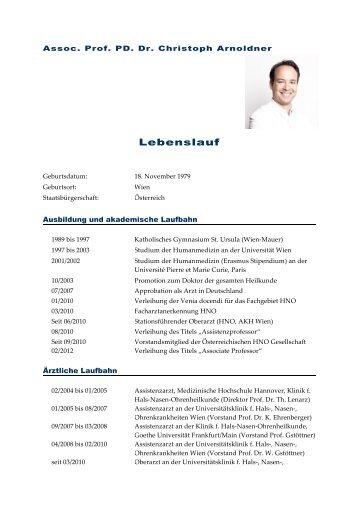 Ausführlicher Lebenslauf Goethe Universität