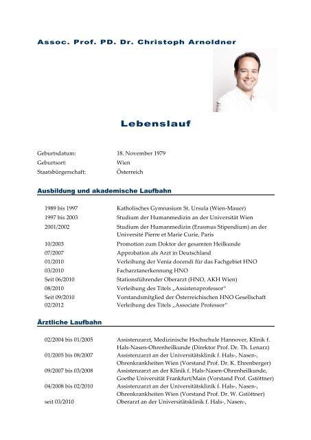 Ausführlicher Lebenslauf Als Pdf Hno Arnoldner