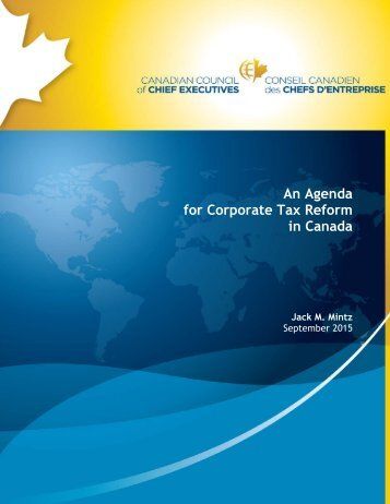 An Agenda for Corporate Tax Reform in Canada