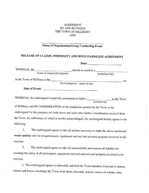 Hold Harmless Agreement Form Millbury Ma