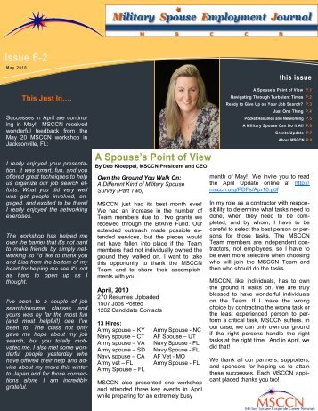 A Spouse's Point of View Issue 6-2 - Military Spouse Corporate ...