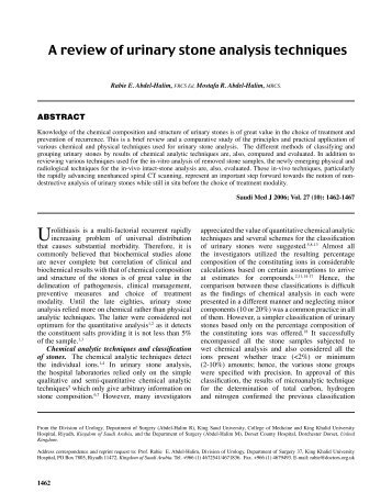 A review of urinary stone analysis techniques - Saudi Medical Journal