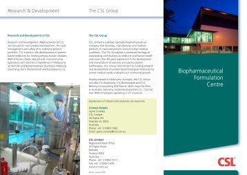 Biopharmaceutical Formulation Centre